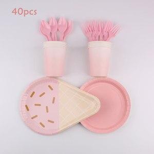 40 шт розовые вечерние украшения для мороженого посуда Decoracion Ниньо тарелка чашка бумажное полотенце соломенная скатерть Вечеринка день рож...
