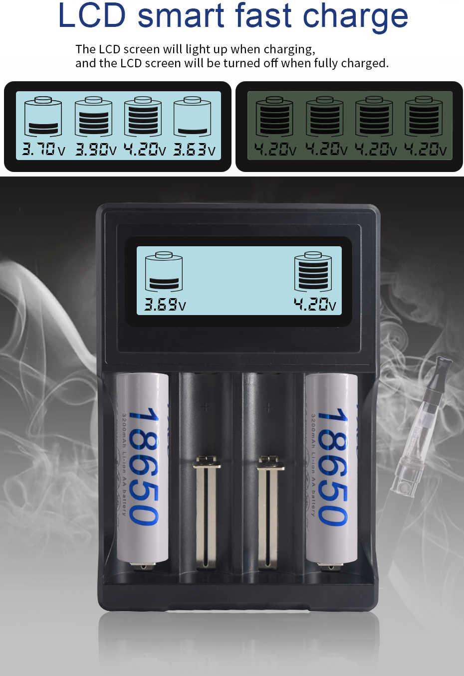 PALO شاشة الكريستال السائل الذكية 18650 شاحن ل 3.7 فولت 18650 18350 18500 16340 17500 25500 10440 14500 26650 شاحن بطارية ليثيوم