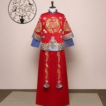 Chinese Style Marriage Set Exquisite Bridegroom Costume Toast Clothing Wedding Clothing Dragon Phoenix Embroidery Cheongsam