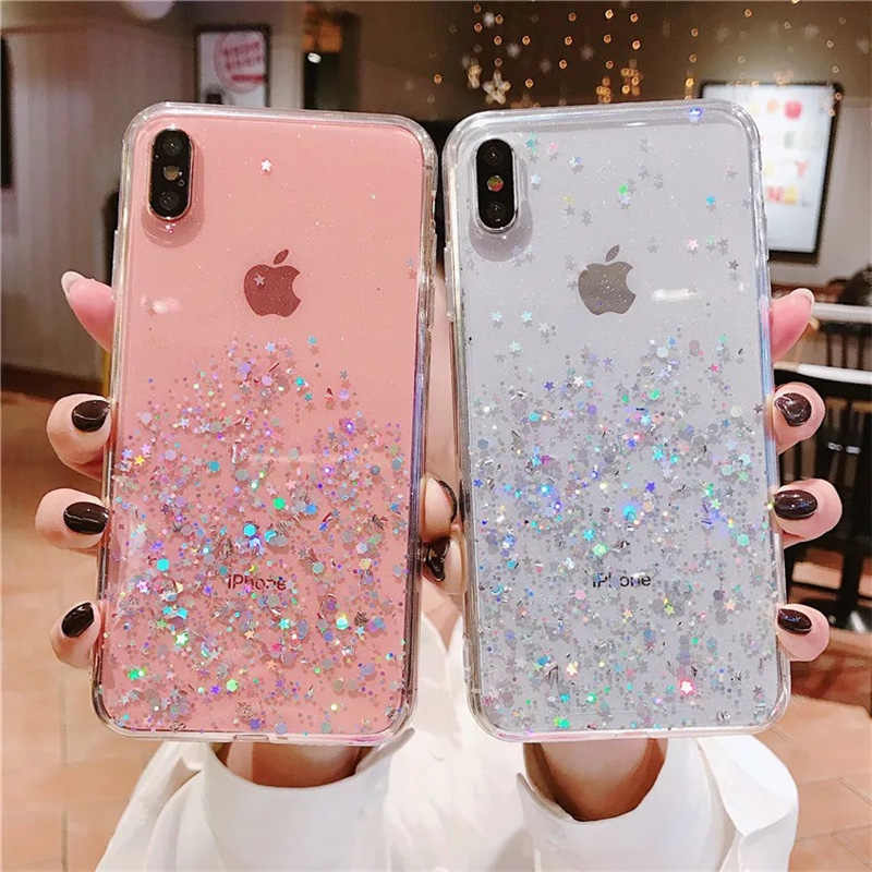 N1986N Telefoon Case Voor iPhone X XR XS Max 6 6s 7 8 Plus Luxe Glitter Bling Pailletten Epoxy ster Transparant Soft TPU Voor iPhone X