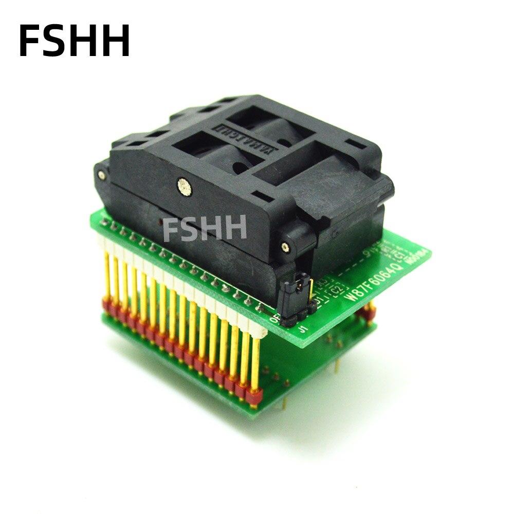 W87F6064Q Programmer Adapter QFP64-DIP32 Adapter TQFP64 LQFP64 IC Test Socket