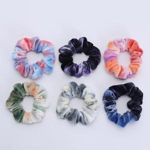 Image 4 - 6PCS Neue Mädchen Tie gefärbt Samt Haarband Kleine Größe Elastische Haar Bänder Kinder Haar Halter Haar Zubehör geschenk
