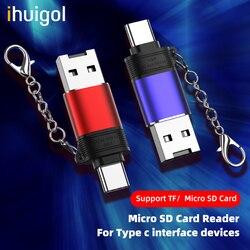 Ihuigon TF/Micro SD czytnik kart pamięci USB do typu c Moilbe telefon Adapter czytnik kart dla Huawei P40 P30 Samsung S10 Xiaomi mi 9