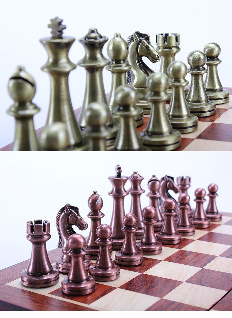 de xadrez de madeira sólida dobrável tabuleiro