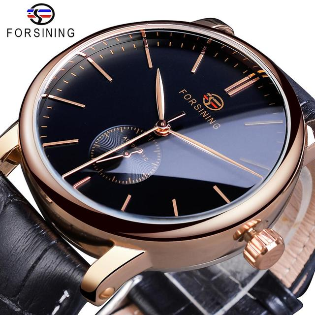 Forsining Simple Men Mechanical Watch Automatic Sub Dial Black Ultra thin Analog Genuine Leather Band Wristwatch Horloge Mannen
