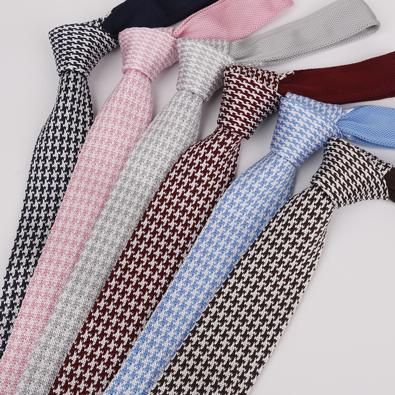 Matagorda 12-color Knit Tie 6CM Narrow Necktie Style Wool Woolen Gravata Houndstooth Lattice Series Men Accessories Neckwear