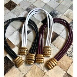 Image 5 - Cosmicchic 2020 Fashion Elegant Metal Becoration Leather Belt High Street Wild Multilayer Line Multicolor Cowskin Belt