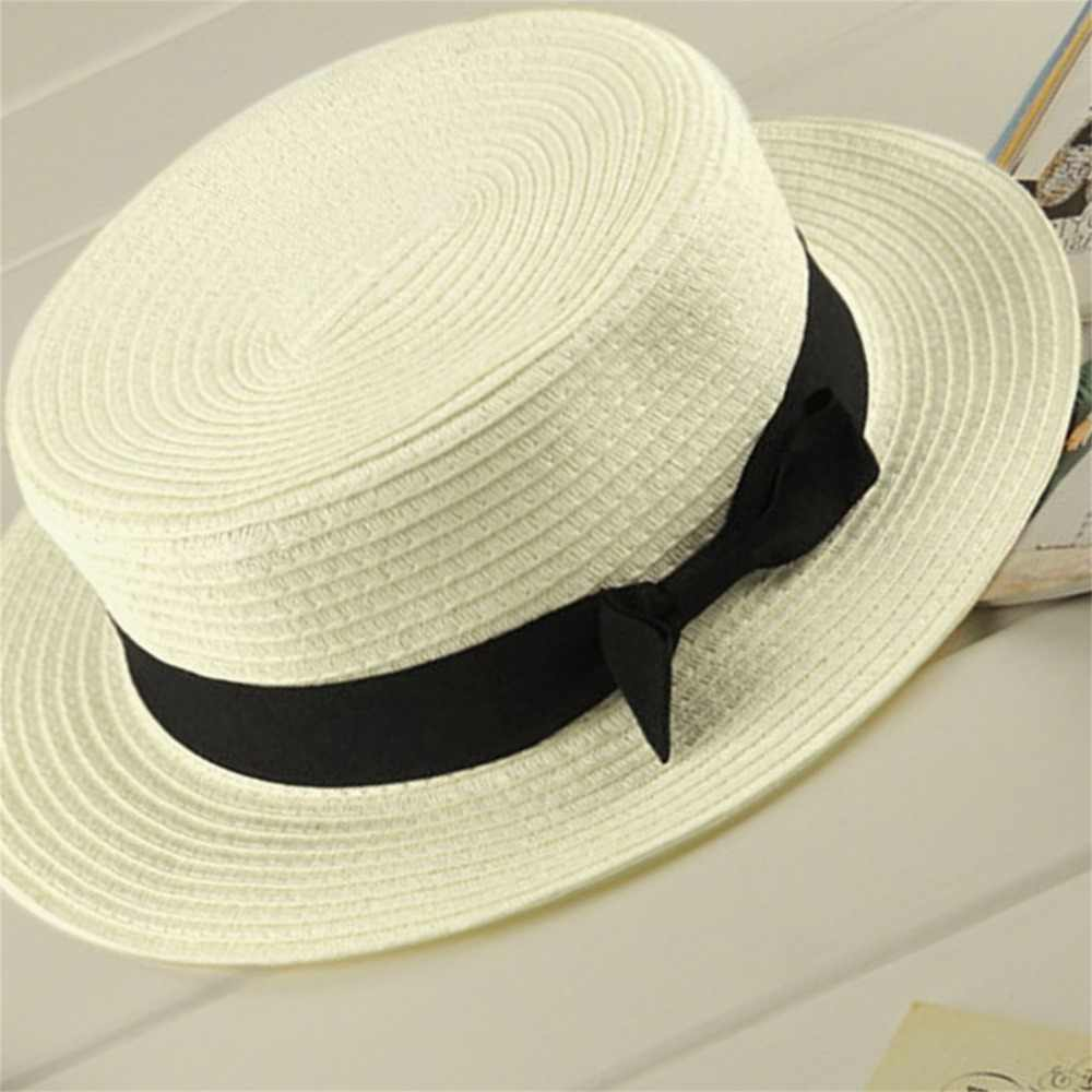 ฤดูร้อนหมวกชายหาดฟาง Family Match Boater Sun หมวกริบบิ้นแม่เด็กปานามาหมวกสำหรับหมวกเด็กผู้หญิงฟาง Snapback Gorras 2019