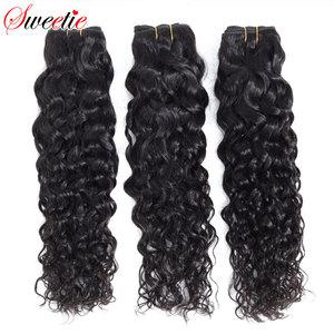 "Image 1 - סוויטי מים גל חבילות הודי תוספות שיער 8 "" 28"" טבעי שחור שיער טבעי Weave חבילות 1/3 /4 חתיכות ללא רמי שיער"