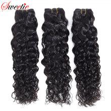 """Sweetie Water WAVE อินเดีย 8 """" 28"""" สีดำธรรมชาติมนุษย์ผมสานการรวมกลุ่ม 1/ 3/4 ชิ้น Non Remy Hair"""