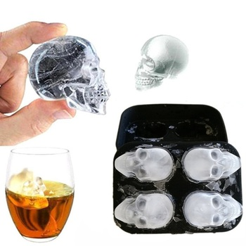 4 Grids Skull Shape 3D Ice Cube Mold Maker Bar Party Silicone Trays Chocolate Mold Gift Ice Cream Tools Halloween Tools Home & Garden Kitchen,Dining & Bar