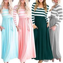 2019 A-Line Loose Long Tshirt Dress Women Waist Belt Formal Elegant Autumn Dresses Sleeve Bodycon