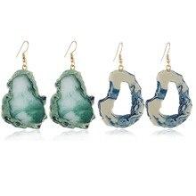 Geometric Earrings Acrylic Irregular Resin Stone Pendant Earring Creative Blue For Women Bohemian Exaggerated Jewelry