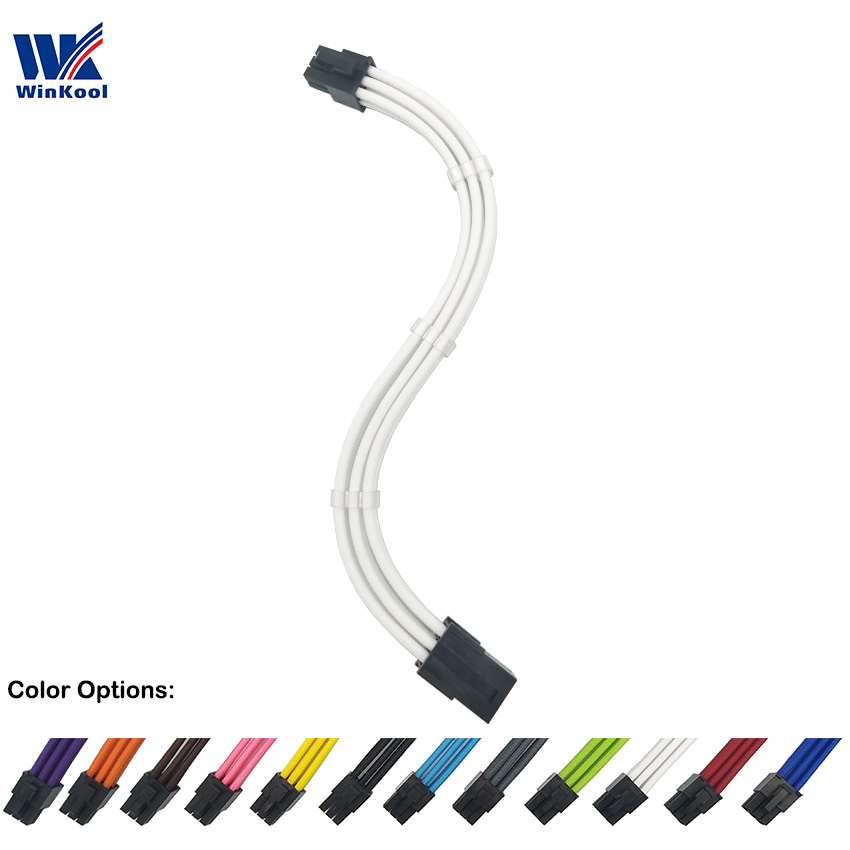 WinKool PCI-E 6-PIN 18AWG Pure Color Sleeved Male To Female Extension Power Cable Inbuilt Cable Combs