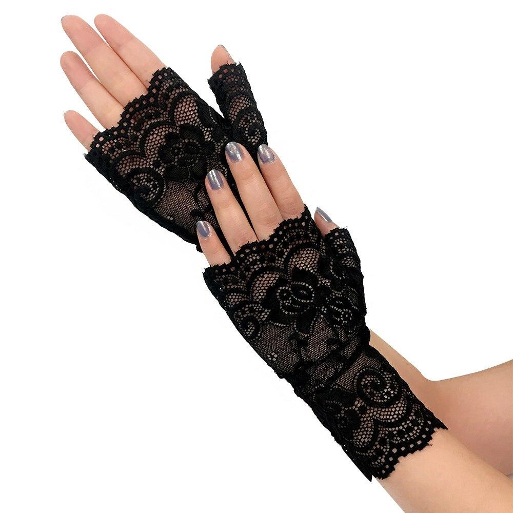 Elegant Party Women Girls Fingerless Lace Gloves Sunscreen Short Gloves Lace Gloves Driving Fishnet 2019 Summer Elegant