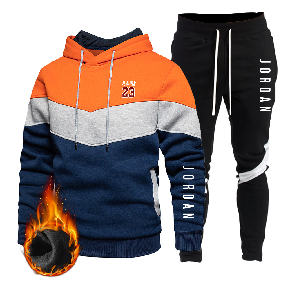 New Autumn And Winter Brand JORDAN23 Letter printing Men's Patchwork Hoodie Sweatpants Suit Streetwear Fashion Sports Track Suit
