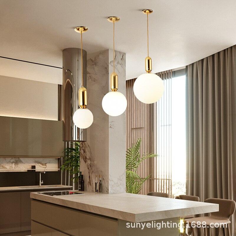 Скандинавская простая стеклянная люстра креативная личность барный светильник роскошный кабинет спальня прикроватная лампа кухня