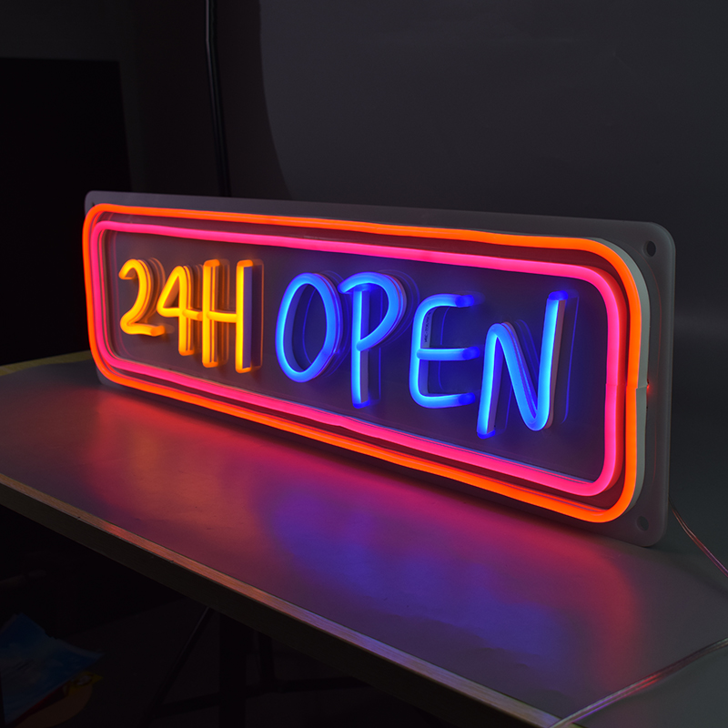 Pink Blue Light Up 24H Open Signage Flex Led 3D Custom Neon Signs Lights Letters For Shop Store Business image