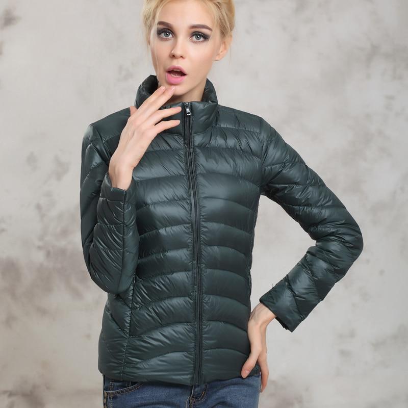 Spring Autumn Women Short Design Jackets Slim Casual Ultra Thin Coat Duck Down 90% Jacket Inverno Jaqueta Feminina