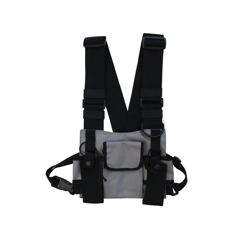 Men Tactical Shoulder Bags Chest Rig Bag Hip Hop Streetwear Men Functional Waist Packs Adjustable Pockets Waistcoat Kanye West