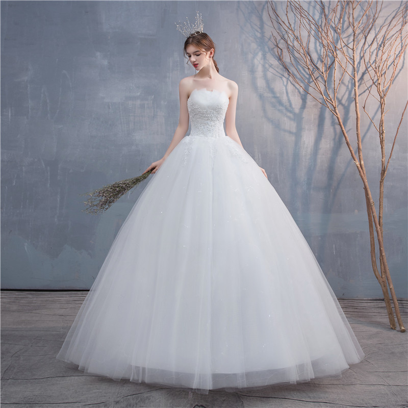 Wedding Dress 2020 New Elegant Strapless Wedding Ball Gowns Plus Size Lace Embroidery Slim Princess Bride Dress Vestido De Noiva