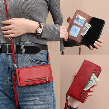Crossbody Shoulder Strap Card Holder Zipper Wallet Flip Case For Samsung Galaxy J3 J5 J7 2017 A5 A7 A8 2018 PU Leather Cover Bag