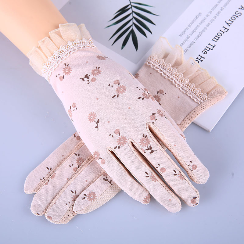 Howfits Women Summer Driving Sunscreen Gloves Touch Screen UV Protection Short Thin Lace Flower Decent Fashion Nonslip Mittens