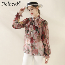 Delocah Runway Fashion Autumn Silk Shirt Womens Lantern Sleeve Bowknot Floral Printed Ladies Stylish Vintage Loose Tops Blouse