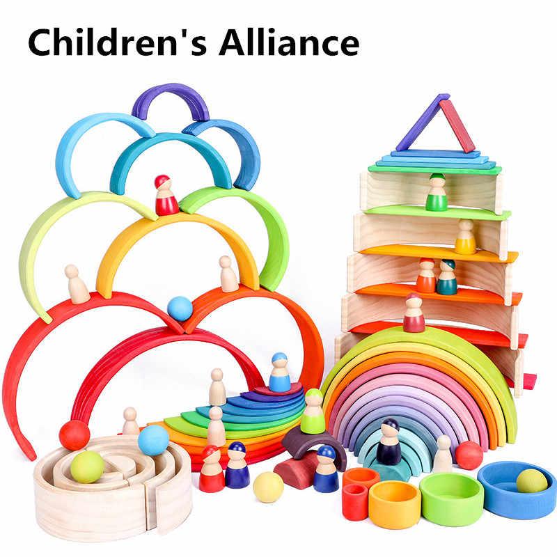 赤ちゃんのおもちゃ大虹スタッカー木製おもちゃ子供のためのクリエイティブ虹ビルディングブロックモンテッソーリ教育玩具子供