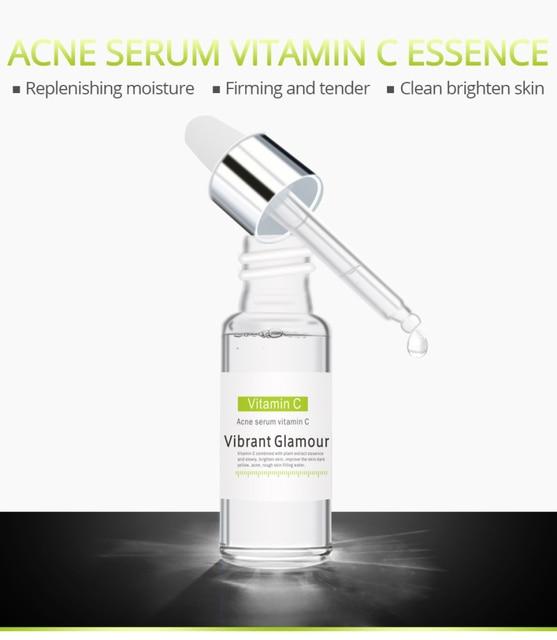 Vitamin C Face Serum Whitening Fade Freckles Plant Extract Serum Remove Acne Treatment Fade Dark Spots Anti-Aging Skin TSLM1