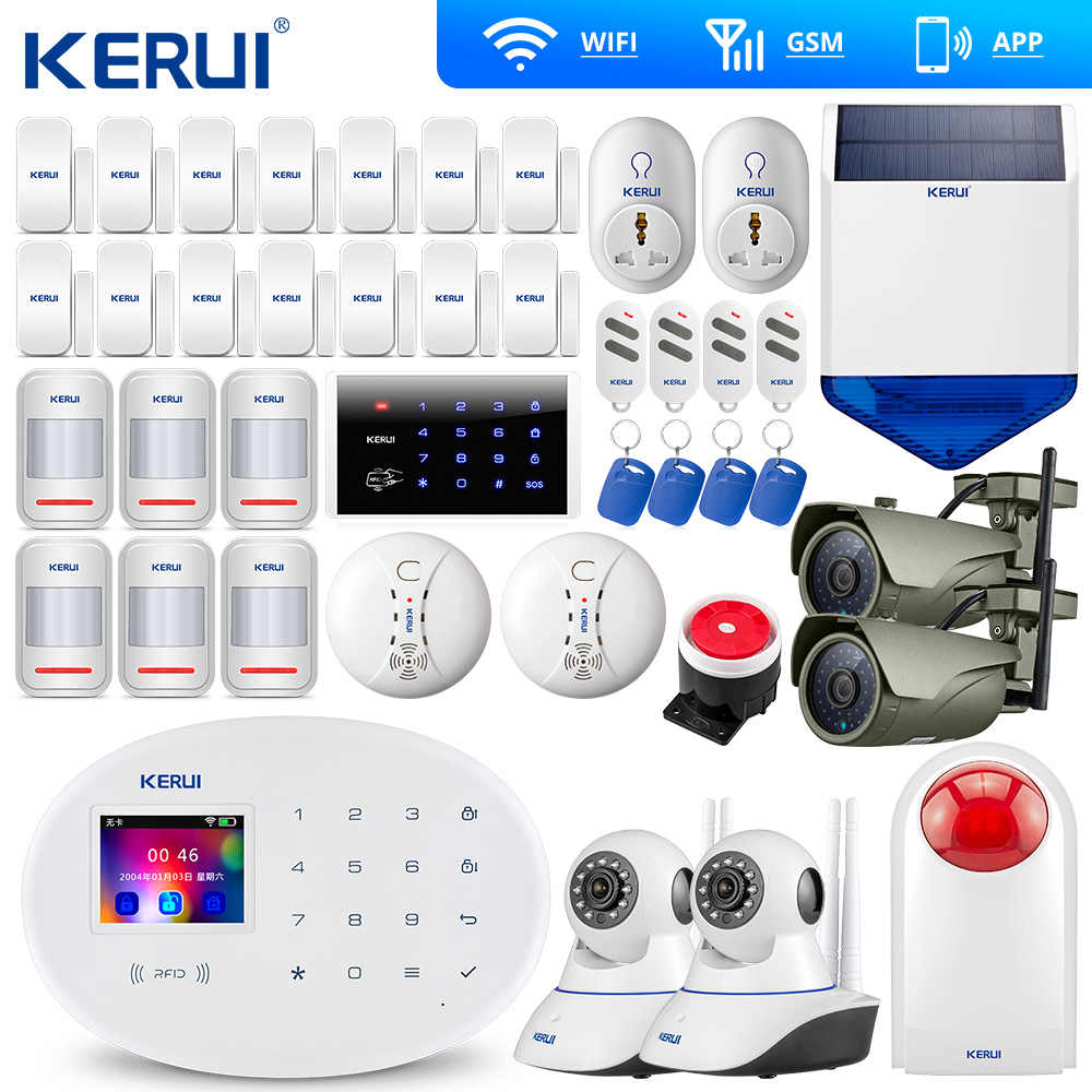 KERUI W20 Neue Modell Wireless Touch Panel WiFi GSM Sicherheit Einbrecher Alarm System APP RFID Karte Wifi IP Kamera Smart buchse Sirene