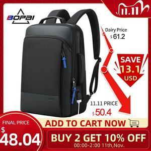 Image 1 - BOPAI 2020 Backpack Men Enlarge Anti Theft Business Bagpack for 15.6 Inch Laptop Black Back Pack School Backpacking