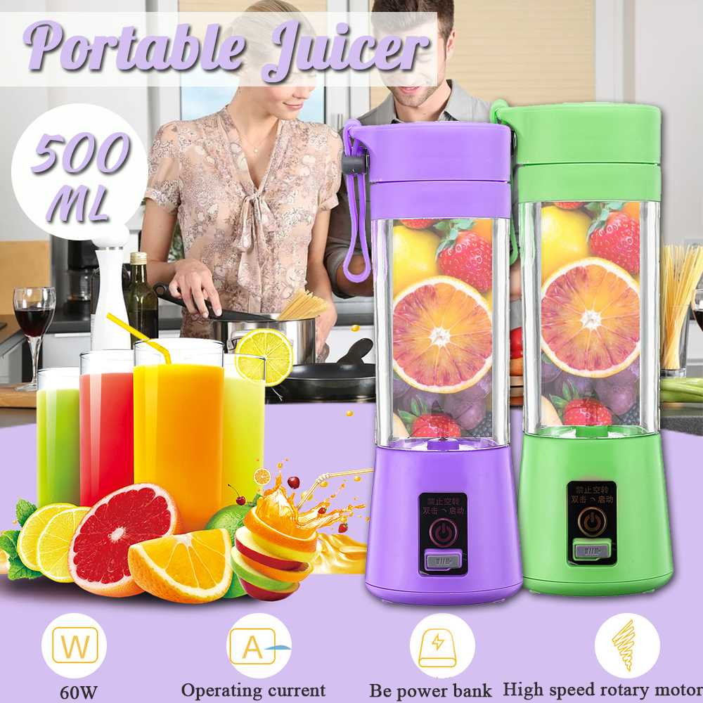 500ml Portable Juicer Electric USB Rechargeable Smoothie Blender Machine Mixer Mini Juice Cup Maker Fast Blenders Food Processor