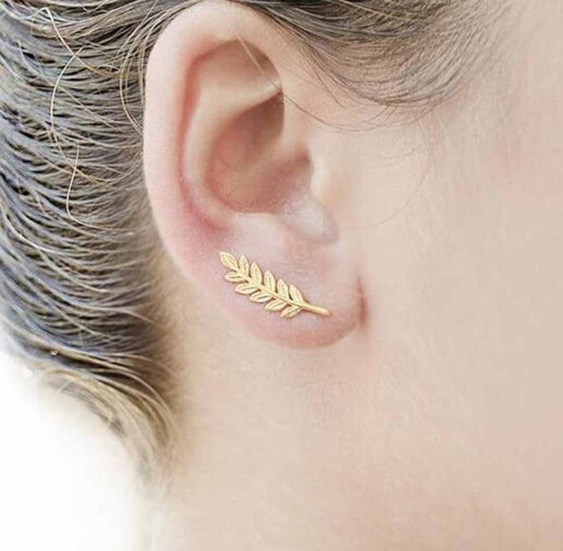 Jisensp Boho Vintage Botanical Leaf Ear Climbers Statement Stud Earrings for Women Bridal Jewelry Leaves Branch Ear Crawlers