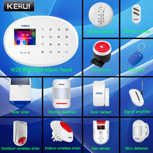 KERUI W20 WIFI GSM Smart Home Control Security Alarm System With 2.4 Inch TFT Touch Панель APP Control Wireless Sensor DIY Kit