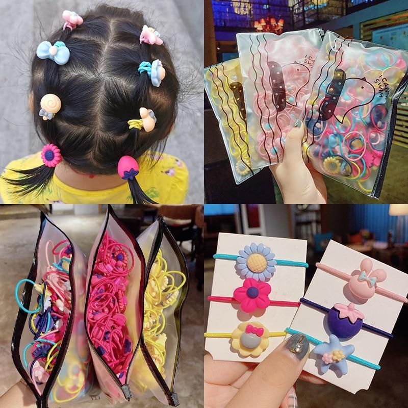 20pcs/Bag Girls Cartoon Resin Elastic Hair Bands Tie Gum For Kids Ponytail Holder Scrunchie Headband Fashion Hair Accessories
