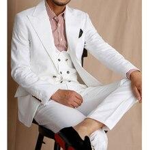 Groom Tuxedo Pants Vest Jacket Men Suits Slim-Fit Peaked Lapel Male White Casual Fashion