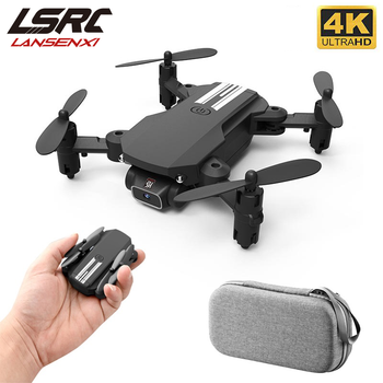 LSRC New Mini Drone 4K 1080P HD Camera WiFi Fpv Air Pressure Height Maintain Black and Gray Foldable Quadcopter RC Dron Toy Gift