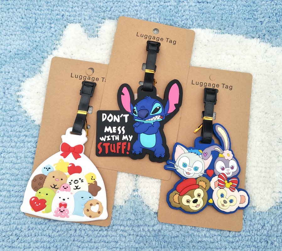 Travel Accessories Stitch Luggage Tags Animal Cartoon Silica Gel Suitcase ID Addres Holder Baggage Boarding Portable Label