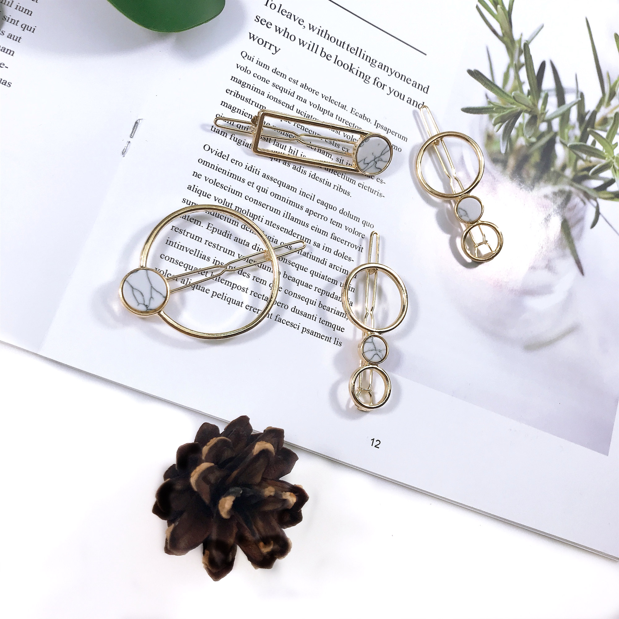 Elegant Fashion Female Geometric Square Circle Shape Marble Embellishment Gold  Hairpins Delicate Hair Accessories For Woman