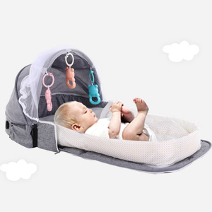 3Pcs Portable Bed Foldable Baby Bed Travel Sun Protection Mosquito Net Breathable Soft Infant Folding Sleeping Basket With Toys