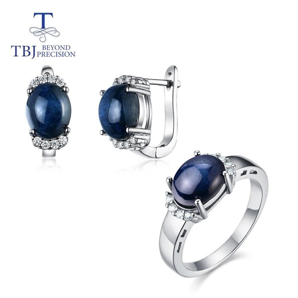 TBJ, natürliche edelstein saphir schmuck set Ringe und ohrringe 925 silber edlen schmuck für frauen partei tragen einfache design 2020