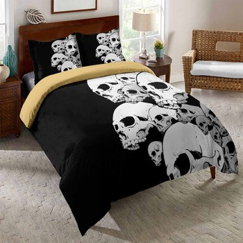 2/3Pcs Black Duvet Cover Set AU/EU/US Size Soft Sugar Skull Bedding Set 3D White Skull Print Microfiber Bed Linen Set Pillowcase 2