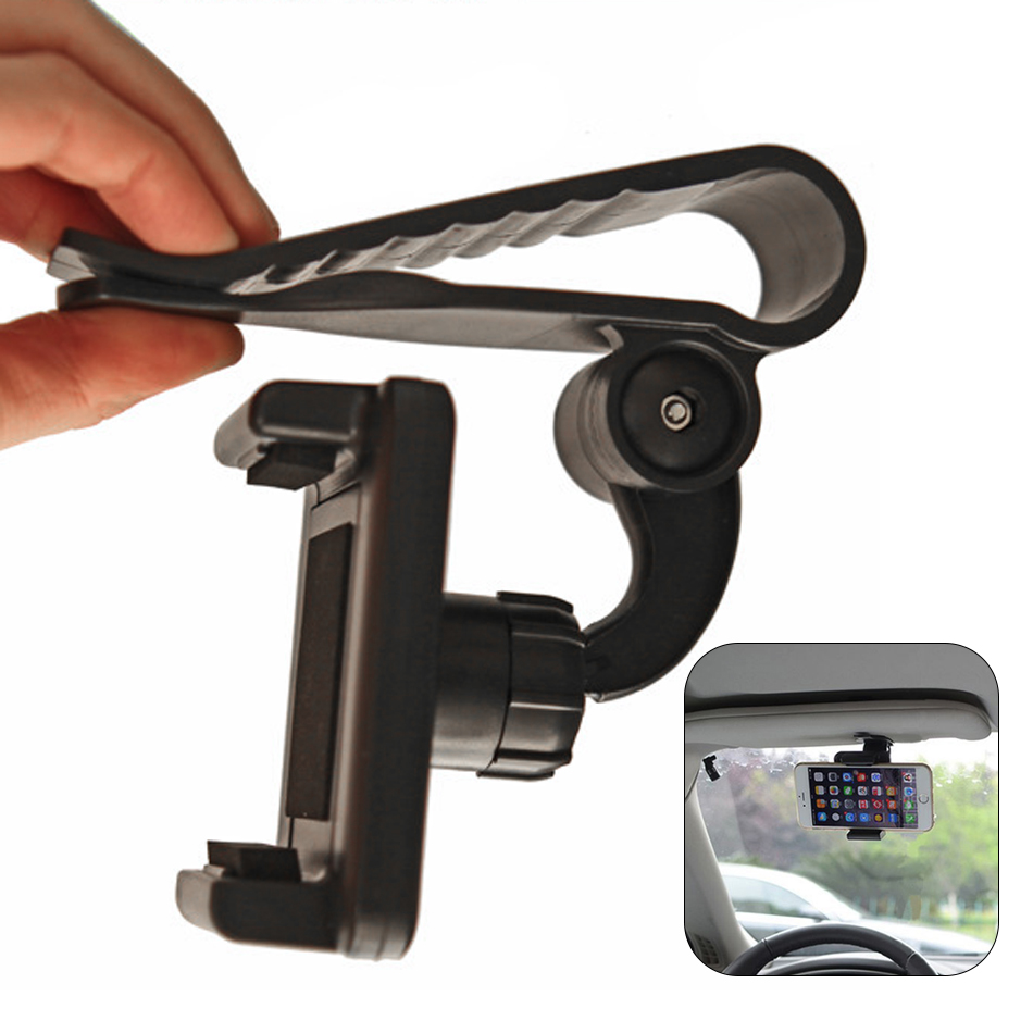 Universal Car Sun Visor Shade Shield Phone Mount Holder Kit 360 Degree Swivel Rotating Adjustable Mount Cradle for iPhone/Huawei