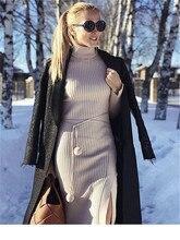 Zanzea Venta Directa vestido de mujer de punto vestido de mujer 2019 nuevo cachemir delgado de cuello alto bolsa larga de cadera de manga apretada de invierno mujer