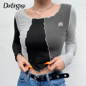 Darlingaga Streetwear Stripe Patchwork Female T-shirt Long Sleeve Letter Embroidery Cropped y2k Top Tee Slim Autumn Tshirt 2020