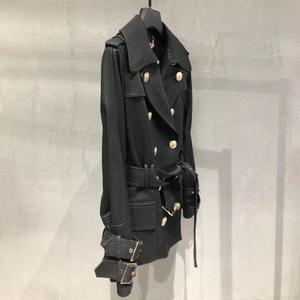 Image 5 - Genuine real leather jacket sheepskin short trench coat women 2019 new fashion double breasted england style windbreaker