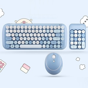 Image 3 - Беспроводная клавиатура, набор для мыши, для ноутбука, бесплатный коврик для мыши, коврик для мыши, 1600DPI, беспроводная мышь, ретро, панк, цветная, 84 круглые клавиши, клавиатура