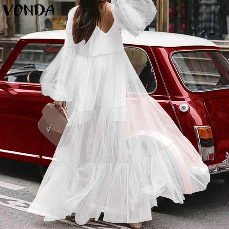 VONDA 2019 Spring Autumn <font><b>Dresses</b></font> Plus <font><b>Size</b></font> Fat MM Loose <font><b>Big</b></font> Yards <font><b>Dress</b></font> <font><b>Sexy</b></font> V-Neck Lantern Long Sleeve High Waist Maxi <font><b>Dresses</b></font> image