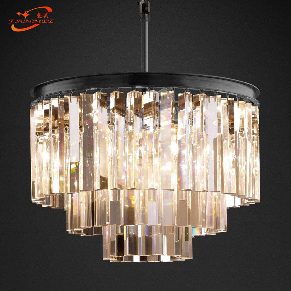 1920's Odeon Clear Glass Smoke Crystal Chandelier Lighting Pendant Hanging Light Fixture Home Hotel Living Dining Room Lighting